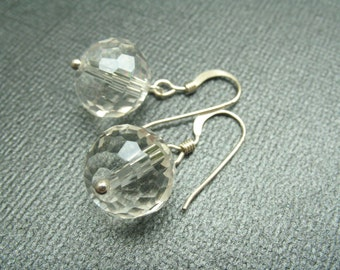 Simple Crystal Earrings with Sterling Silver