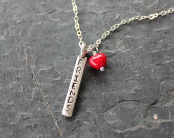 Friends charm necklace with red glass heart and word charm - sterling silver chain - sweet gift for your BFF
