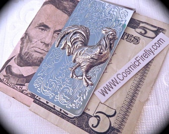 Silver Rooster Money Clip Steampunk Money Clip Gothic Victorian Vintage Inspired Men's Accessories Men's Gifts For Men Silver Cock