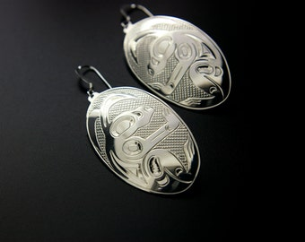 Northwest Coast Rabbit Hare Bunny Earrings Sterling Hand Engraved Dangles