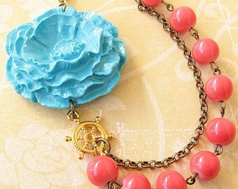 Flower Necklace Turquoise Jewelry Coral Necklace Statement Necklace Nautical Jewelry Beaded Necklace Gift For Her
