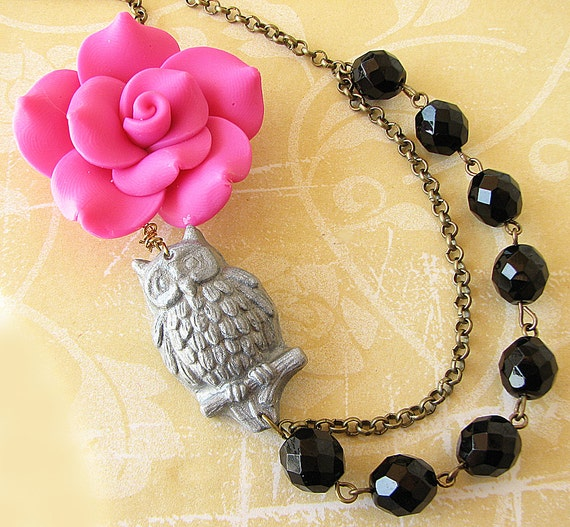 Statement Necklace Flower Necklace Owl Jewelry Pink and Black Necklace Bib Necklace Gift For Her