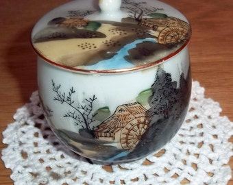 Vintage Japanese Hand-Painted Cup with Lid