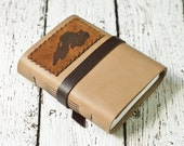 Tan Leather Journal with Lake Superior Image - Rustic Travel Journal