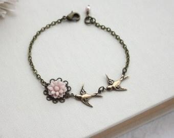 Soft Pink Chrysanthemum Flower, Flying Bird Swallow, Skinny Bracelet. Pink Powder Wedding. Flower Girl. Bridesmaids Gift.