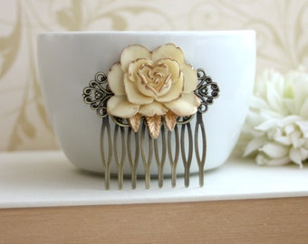 Ivory Antiqued Gold, Shabby Chic, Vintage Style Ivory Rose Flower Hair Comb. Ivory Gold Rose Hair Comb. Wedding Comb. Bridesmaids Gift