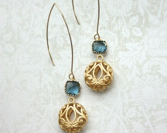 Sapphire Navy Blue and Round Gold Filigree Earrings. Wedding Jewelry, Bridal Earring. Summer. Bridesmaid Gifts. Blue Gold Wedding. Modern.