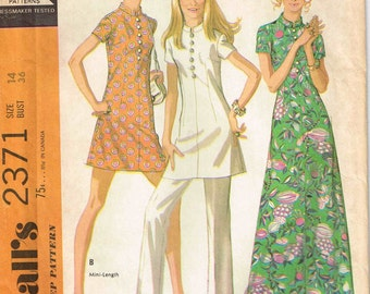 Nehru Collar Mini Maxi Dress and Pants Misses Vintage 1970s McCalls 2371 Sewing Pattern Size 14 Bust 36