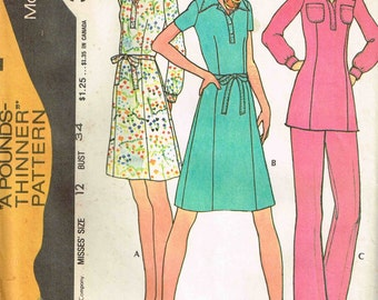 Tunic Top, Dress and Pant Suit Vintage 1970s A Pounds Thinner McCalls 3244 Sewing Pattern Size 12 Bust 34