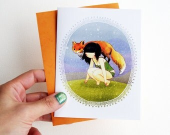Fox Greeting Card - Cute Blank Card with Envelope