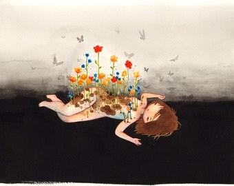 11x14 print - Little Garden - girl and flowers