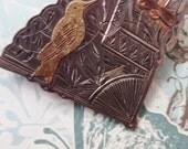 Vintage Sterling  Brooch Fan Bird Dragonfly