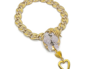 Love Birds Necklace, Rhinestone, Vintage Assemblage, Altered Upcycled, Repurposed, Big Statement, Runway Piece, Bohemian, Boho Statement