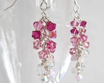 Made To Order Custom OOAK Swarovski Shower earrings - bridal wedding colour theme