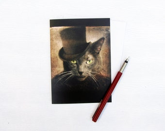 Grey Cat Art Card Russian Blue Stationery Animal Photography Cat Photo Cat Pet Portrait Note Card 5x7 Photo Card - Captain Grey