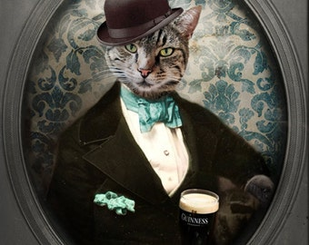 Guinness Beer Cat Art Animal Photography Cat with a Beer Cat Photo Pet Portrait Photography Print - Lovely Day for a Guinness