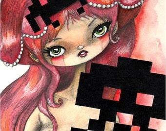Space Invader 8-Bit Video Game Art Print 8x10 Art Print