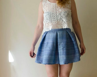 50% Off Sample Sale Skater Skirt, Mini Blue Raw Silk Skirt with Pleats, High Waisted Summer Skirt