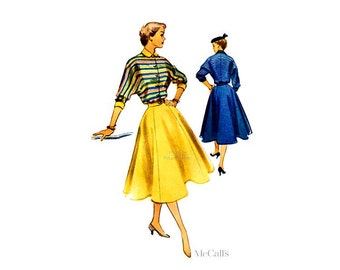 Vintage 50s Dress Pattern McCalls 9008 Full Skirt Suit Dress, Button Front Bodice with Dolman Sleeves & Peter Pan Collar, Uncut