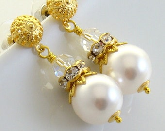 Bridal Bridesmaids White Pearls Swarovski Crystal 12mm, 22 K Gold Plated Filigree Post Earrings, Wedding Gold White Jewelry