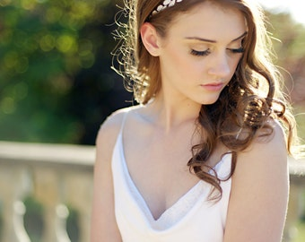 Rhinestone head wrap, rhinestone headband , crystal headpiece, bridal - style 1201