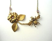 Branch Necklace, Bee Necklace, with Flower, Twig Jewelry, Bumblebee, Spring Jewelry, Naturalist, Gardener