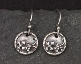 Silver Flower Earrings Antique Victorian Button Earrings Tiny Flowers