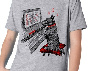boys' music shirt - dog shirt - vintage design NOTEWORTHY - children's heather grey crew neck piano t-shirt