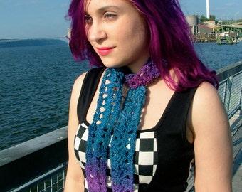 Purple, Blue Fashion Scarf, Crochet