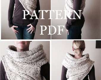 PATTERN PDF - Pattern for DIY Panem Katniss Inspired Cowl - Two Looks - Easy Knitting Pattern - customizable sizes