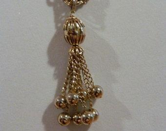 Vintage Gold  Tone Tassle Necklace Triple Chain