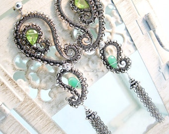Peridot Earrings Sterling Silver Wire Wrapped  Paisley Jewelry