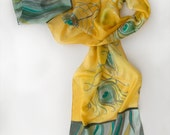 Hand painted silk scarf Yellow Feathers. Silk scarves. Decorative scarf  in yellow and grey.Painted silk scarf. Long fashion scarf 17 by 70