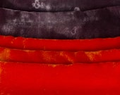 Bright velvet scarf hand painted. Red, black handpainted scarf. Silk velvet scarf in abstract mood. Long fashion scarf. Fall luxury scarf