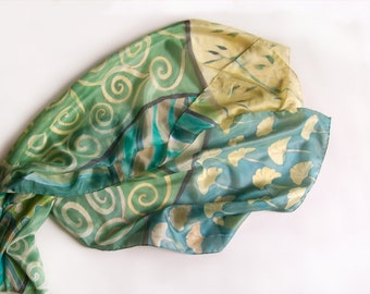 Hand painted scarf- Ginkgo leaves theme. Green ocher and aqua scarf/ Klimt inspired scarf in green and aqua. Summer scarves. Silk painting