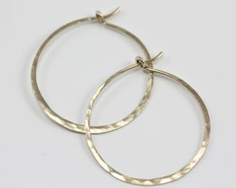 Hammered Hoops- yellow gold-filled, simple hoops, handmade hammered hoops, everyday earrings, gold hoops, forged, delicate hoops