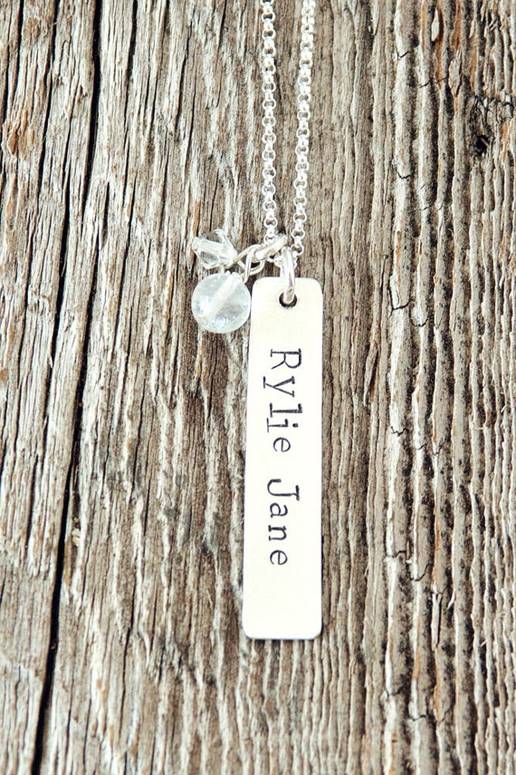 Rectangle Charm Necklace, Mommy Necklace, Gifts for New Moms