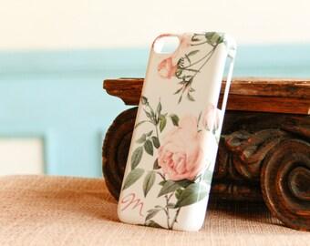 iPhone 6 Case Pink Roses iPhone 5S Case Monogram, Pink Rose iPhone 6 Plus Case, Floral iPhone, Pretty iPhone 5C Case