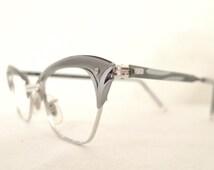 NOS Grey Cat Eye Frames / Gold and Aluminum Designer Eyeglasses Sunglasses