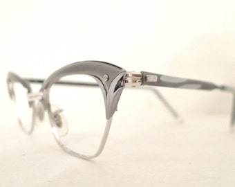 NOS Grey Cat Eye Frames / Gold and Aluminum Designer Eyeglasses Sunglasses