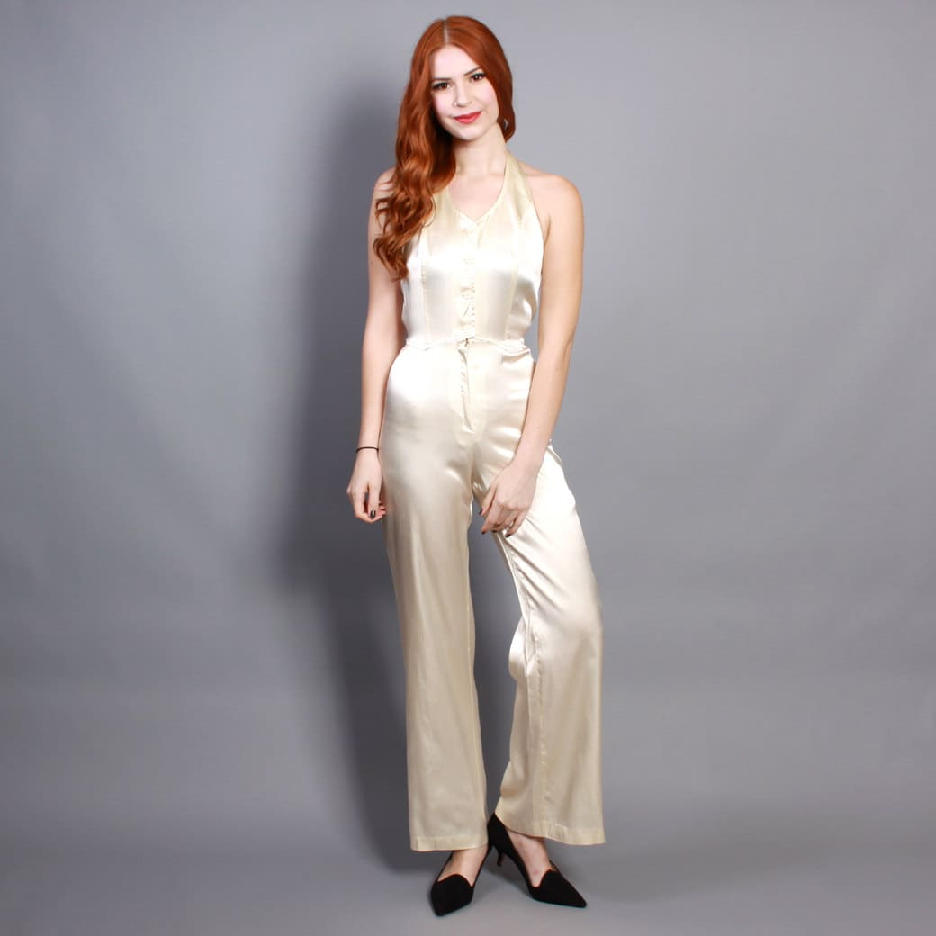70s Ivory SATIN JUMPSUIT / Tailored u0026 Fitted Halter Neck Disco