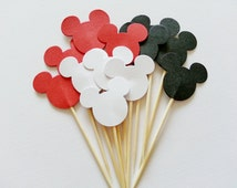 12 HAPPY MICKEY MOUSE Party Picks / Cupcake Toppers / Cocktail Sticks / Food Picks - Black, White, Red Trio Mix