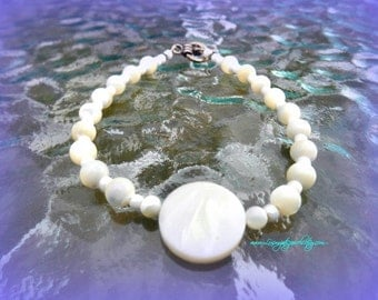 Bridal Bracelet,Mother Of Pearl,MOP,Shell Jewelry,Chakra Jewelry,Cruise Resort Wear, Beach Jewelry,Ready to Ship, Direct Checkout