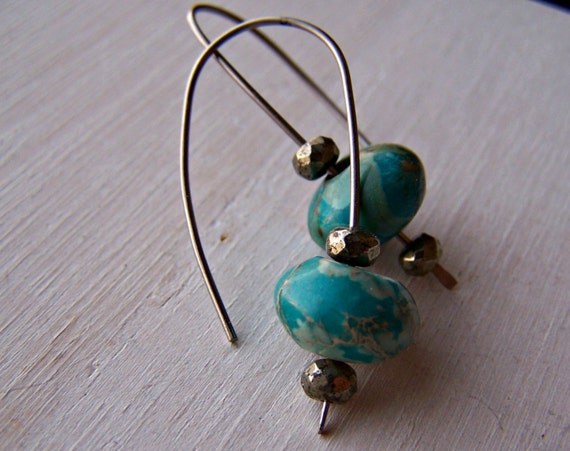 grade titanium earrings titanium grade 1 wishbone earrings with jasper and pyrite 8199