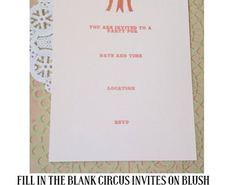 Clearance Sale- Girly Circus Fill in the Blank Invitations
