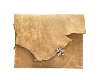 leather tablet case - raw edge distressed leather gadget sleeve - ipad mini carry case cover