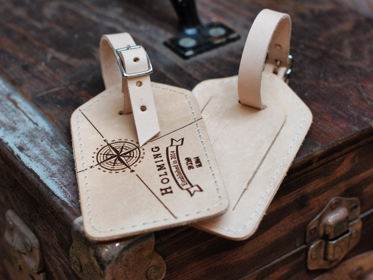 Personalized Luggage Tags Wedding Gift: Laser Engraved Personalized Wedding Gift Leather By