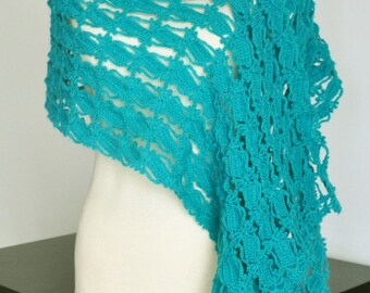 Airy Turquoise Lace - Crochet Lace Scarf/Shawl