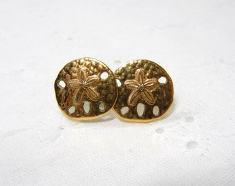 Sand Dollar earrings / gold filled / Beach / vacation / coast / Souvenir / Starfish / Pierced Sand Dollar / Gold sand dollars / Mother
