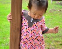 Kira Broken Herringbone Tunic/Dress with 3/4 sleeves: 12-18 months, 18-24 months, 2T/3T, 4/5, 6/7, 8/9 infant, toddler, little girls dress